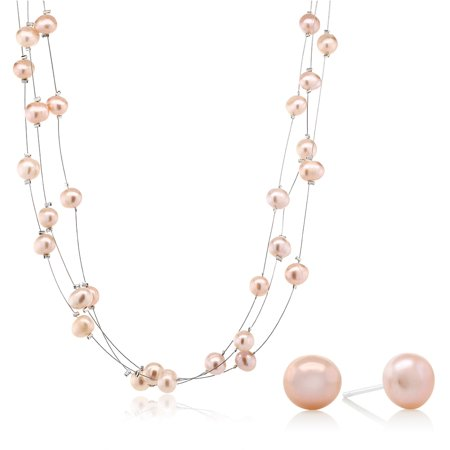3-Row 7-8mm Pink Cultured Freshwater Pearl Necklace Earrings Set 18
