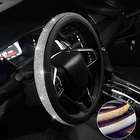 Steering Wheel Cover Bling Bling Rhinestones Crystals Car Handcraft Steering Wheel Covers Leather for