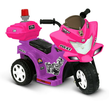 Kid Motorz Lil' Patrol 6-Volt Battery-Powered Ride-On, Purple and Pink - Toddler Pink Car