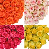 "Natural Fresh Flowers - Assorted Color Roses, 24"", 100 Stems"