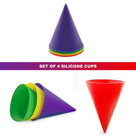 Reusable Silicone Snow Cone Cups - Set of 4 - Construction Cone Cups