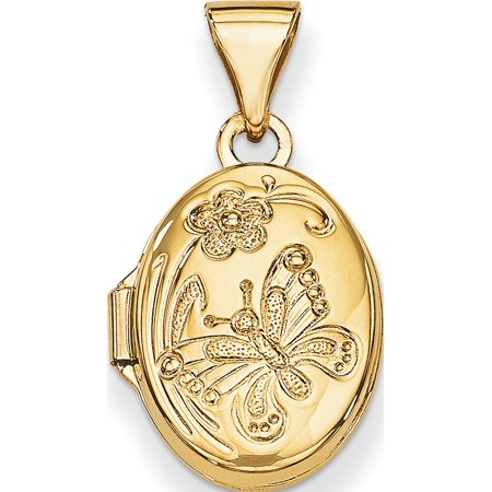 14K Yellow Gold Floral & Butterfly Locket (20x13mm) Pendant / Charm