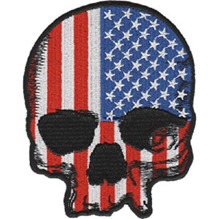 Skulls & Skeletons With US Flag - Sew Iron on, Embroidered Original Artwork - Patch - 3.1