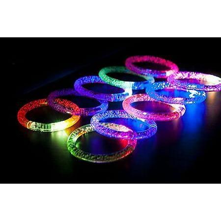 12 PC Light-Up Acrylic Bracelet Wristband LED Flashing Glow Blinking Rave Wear - Led Wrist Bands