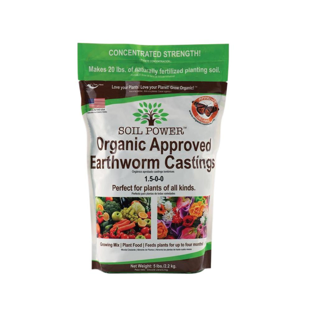 SOIL POWER Worm Castings Organic Fertilizer. Plant Food. 5 Lb. Bag Concentrated Strength (Makes 20 Lbs.) Non-GMO. AVA Approved & Recommended. Sustainable. Bee & Butterfly Friendly.