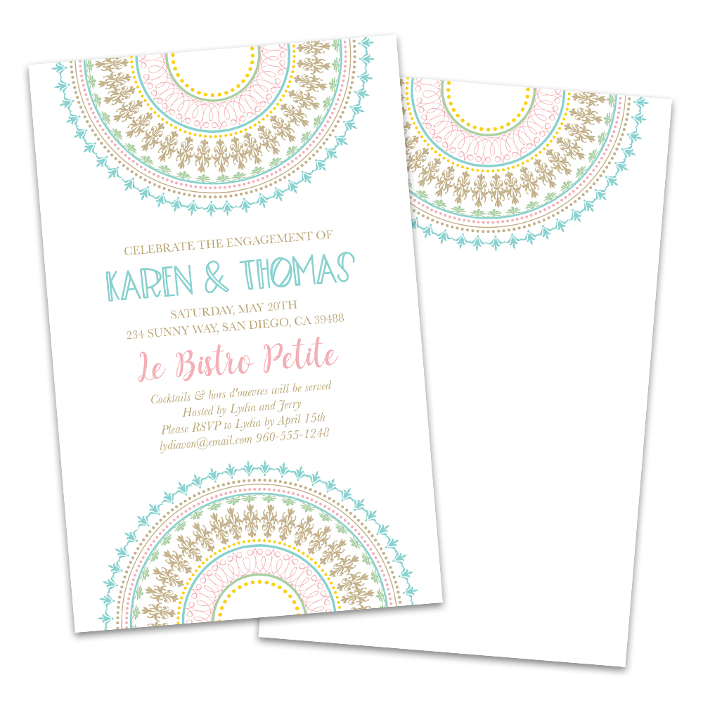 Personalized Pastel Medallions Engagement Party Invitations