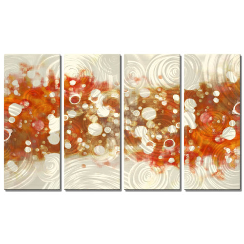 Drip Brokeh- Orange Metal Wall Art - 43W x 23.5H in.