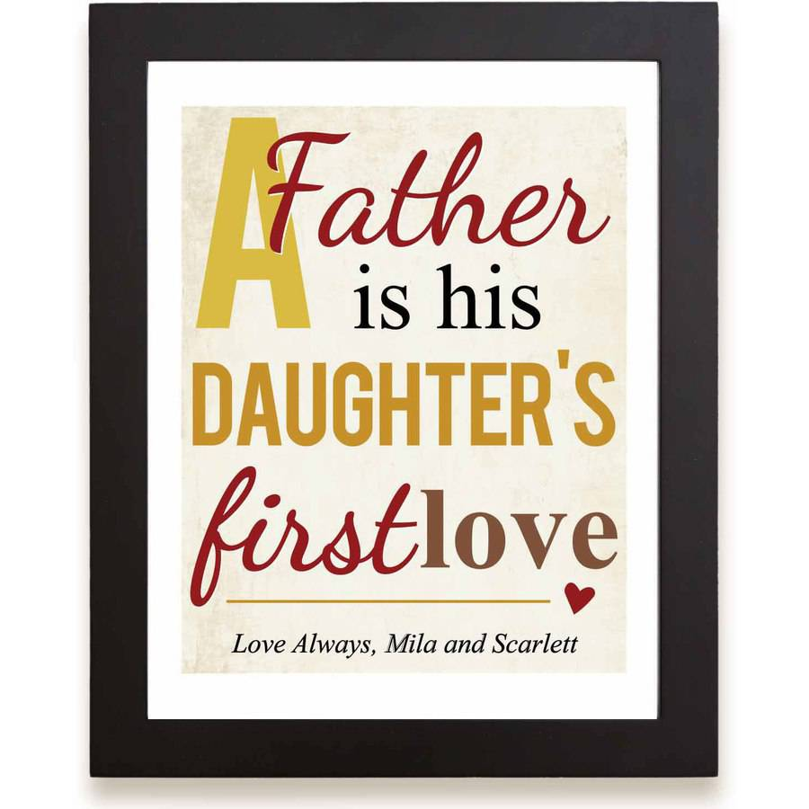 """Personalized First Memories of Father Print, Love, Yellow, 11"""" x 14"""""""