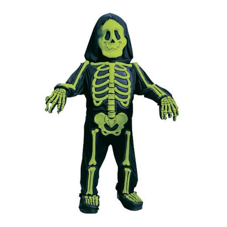Fun World Toddler &  Boys Green Skelebones Costume 3D Skeleton Jumpsuit - Skeleton Boy Costume