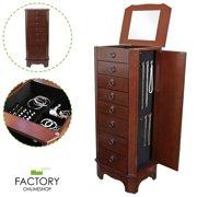 Geniqua Jewelry Necklace Holder Cabinet Storage Amoire Organizer Wooden Drawer W/ Mirror