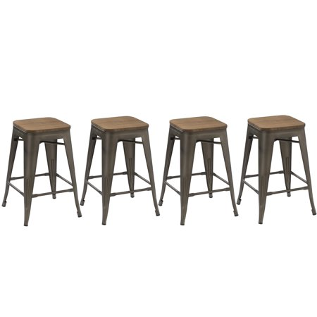 Btexpert  24 Inch Industrial Metal Vintage Antique Copper Rustic Distressed Counter Bar Stool Modern   Handmade Wood Top Seat Set Of 4 Barstool