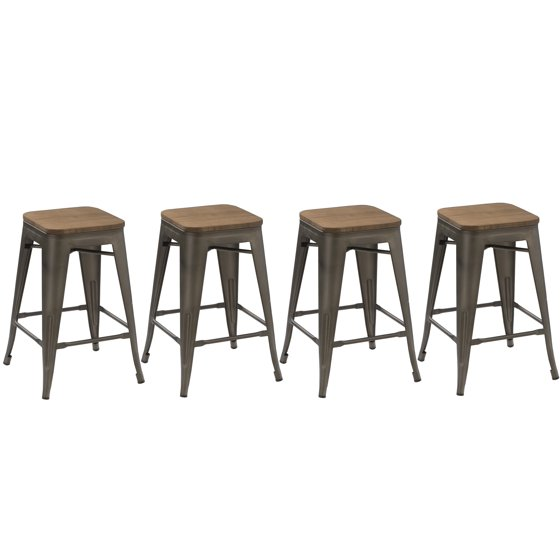 Copper Set Of 4 Metal Wood Counter Stool Kitchen Dining: BTEXPERT® 24-inch Industrial Metal Vintage Antique Copper