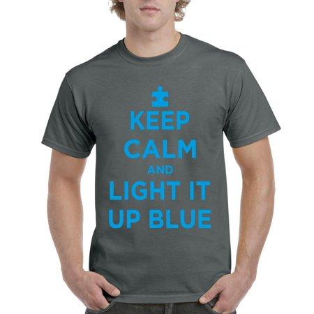 Artix Keep Calm And Light It Up Blue Autism Awareness Autism Speaks  Mens T Shirt Tee