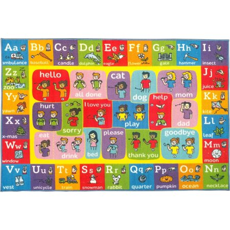 KC Cubs Playtime Collection ABC Alphabet ASL Sign Language Educational Learning Polypropylene Kids and Children Area Rug (3'3 x 4'7)