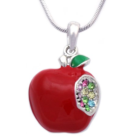 cocojewelry 3 Dimensional Red Apple Pendant Necklace Gift For Teachers