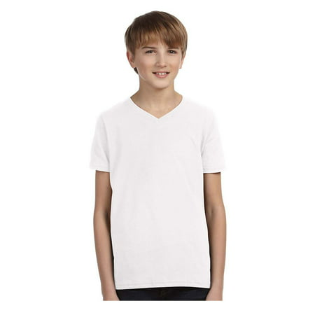 Bella Canvas Big Boys Side Seamed V-Neck Retail Fit Jersey T-Shirt, Style -
