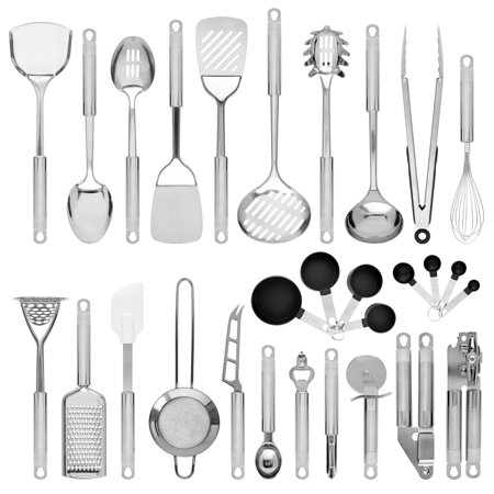 Con Set (Best Choice Products Set of 29 Stainless Steel Kitchen Cookware Utensils Set w/ Spatulas, Can and Bottle Openers, Measuring Cups, Whisk, Ladles, Tongs, Pizza Slicer, Grater, Strainer - Silver )