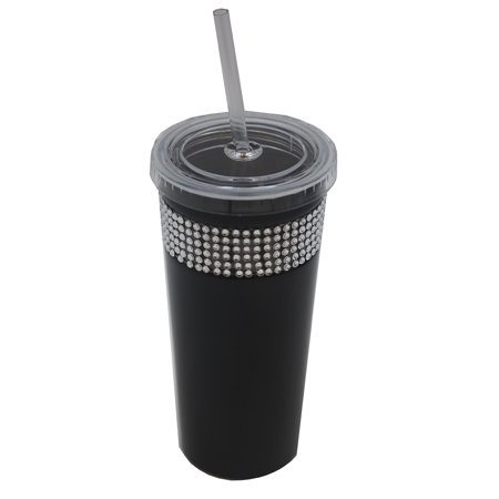 Rhinestone Disposable Coffee Tumbler Matte Black&Silver with Lid And Straw 16 oz (Tumblers With Lids And Straws)