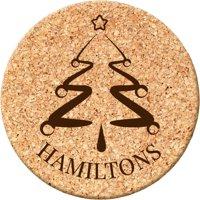 Custom Goods Christmas Tree Round Cork Coaster