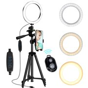 """6"""" Selfie Ring Light with Tripod Stand & Cell Phone Holder, EEEKit LED Camera Ring Light for Live Stream/Makeup/YouTube/Video/Photography Compatible with iPhone 11 Pro Max Xs Max XR Android"""