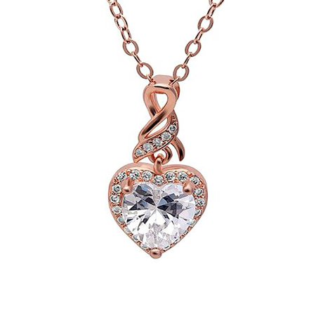 Ginger Lyne Collection Rose Gold Plated Clear Cubic Zirconia Heart Pendant Necklace
