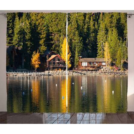 Lake Tahoe Curtains 2 Panels Set, Carnelian Bay Photography Log Cabin in the Woods Holiday Destination Lakeside, Window Drapes for Living Room Bedroom, 108W X 108L Inches, Multicolor, by Ambesonne