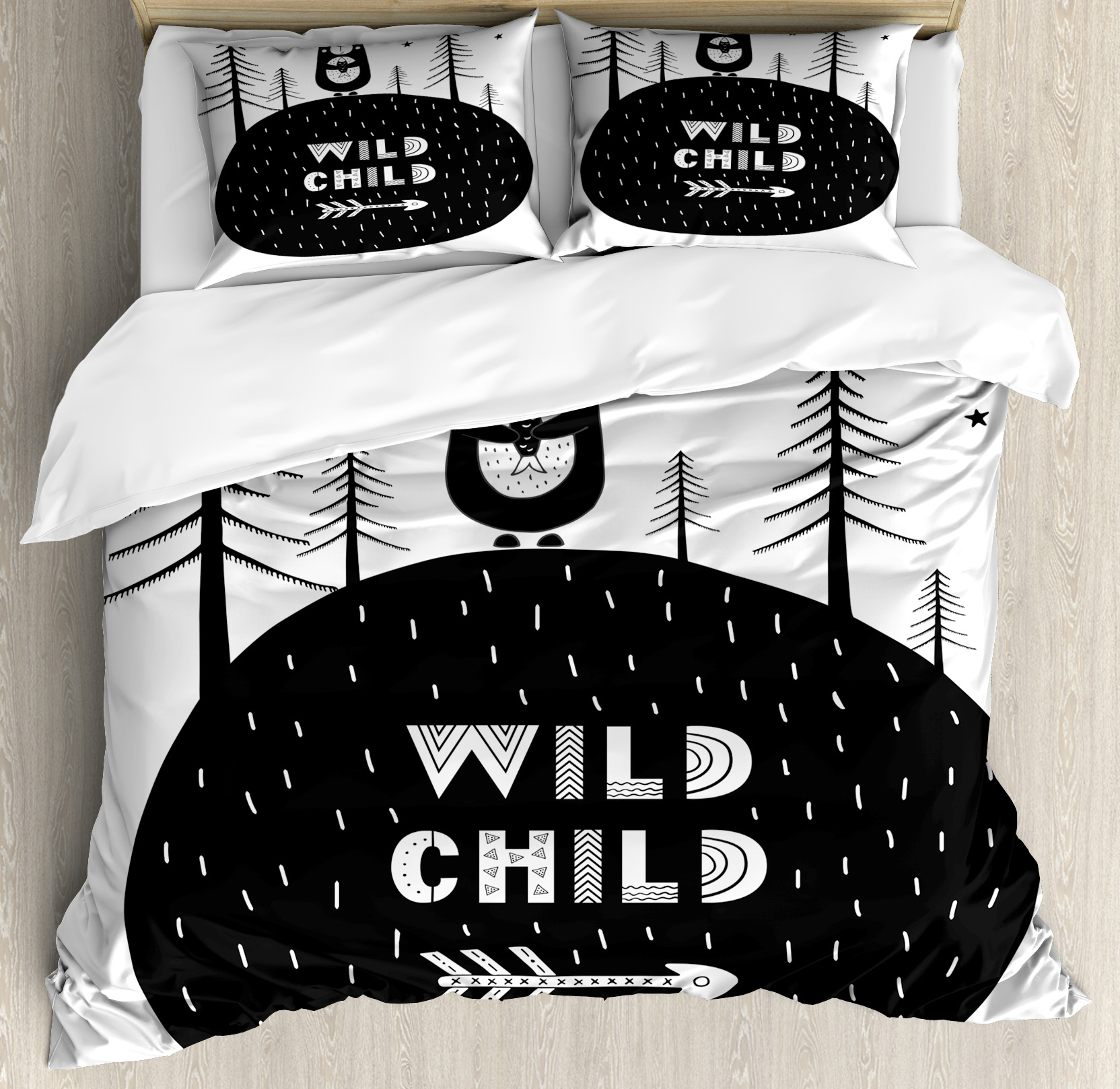 Black and White Queen Size Duvet Cover Set, Hand Drawn Bear Holding a Fish with a Smile in Forest Wild Child Quote, Decorative 3 Piece Bedding Set with 2 Pillow Shams, Black and White, by Ambesonne