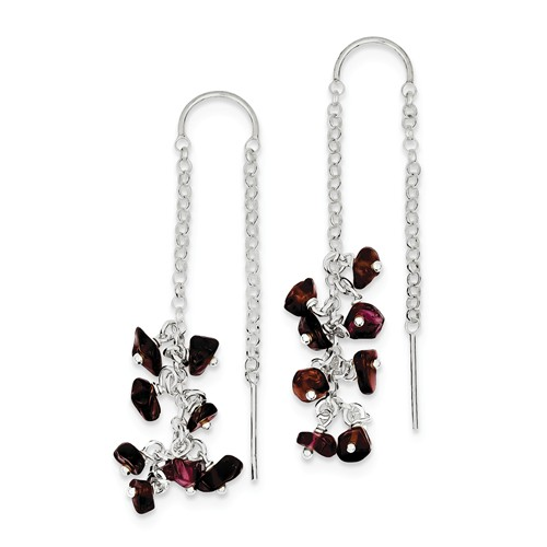 Sterling Silver Garnet Threader Dangle Earrings (2IN x 0.3IN )