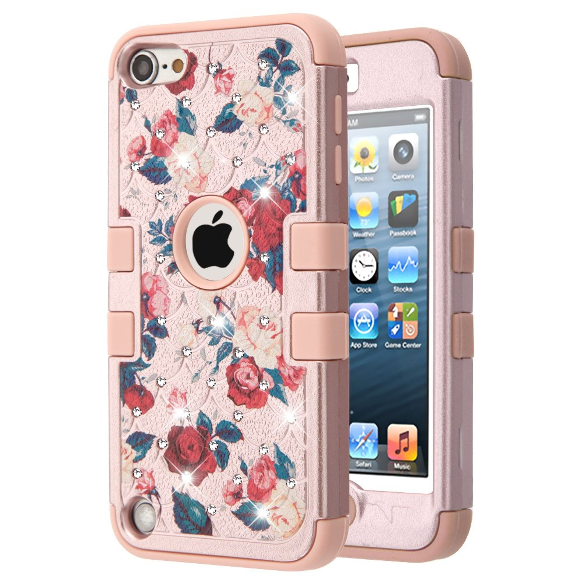 iPod Touch 6th generation case by Insten Full Star Roses Hard Plastic/Soft TPU Rubber Dual Layer [Shock Absorbing] Hybrid Case Cover w/Diamond For Apple iPod Touch 5th Gen/6th Gen