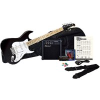 Silvertone Citation Electric Guitar Package, Liquid Black