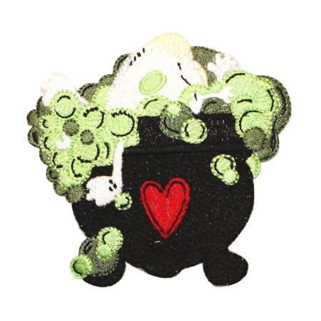 ID 0895 Bubbling Cauldron Patch Witch Brew Halloween Embroidered IronOn Applique (Halloween Witches Brew Labels)
