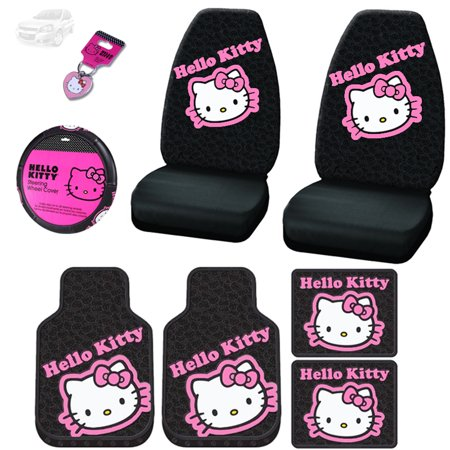 New Hello Kitty Car Seat Covers Steering Wheel Cover Front And Rear Floor Mats And Key Chain Set Shipping Included