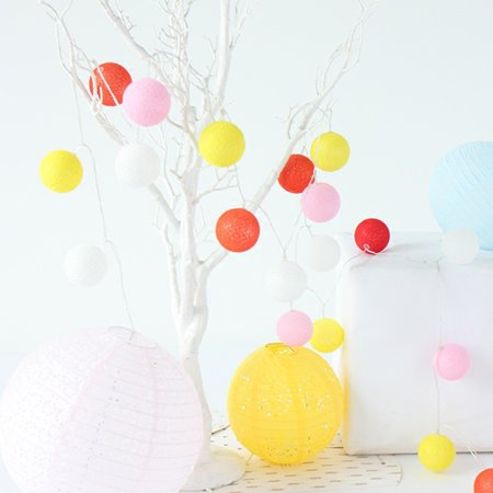 Pretty LED Cotton Ball String Lights Colourful Lamp Decoration for Household Christmas Halloween Spring Festival Party Wedding