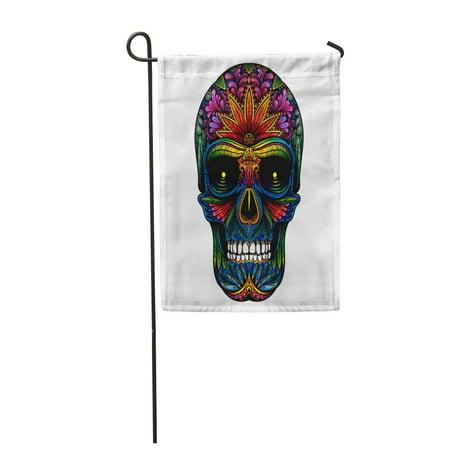 KDAGR Candy Color Tattoo Skull on Halloween Pattern Sugar Abstract Black Garden Flag Decorative Flag House Banner 12x18 inch](Sugar Candy Skull Halloween Makeup)