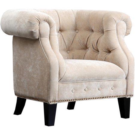 Abbyson Living Farah Linen Fabric Nailhead Trim Armchair, Cream