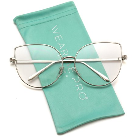 WearMe Pro - Clear Thin Frame Over-sized Delicate Non- Prescription Glasses - Prom Glasses