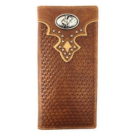 Rodeo Wallet - Western Genuine Leather Basketweave Rodeo Metal Concho Mens Long Bifold Wallet