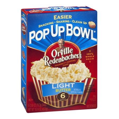 Orville Redenbacher's Pop up Bowl Light Butter Microwave Popcorn, Pack of 6 (Orville Redenbachers Light Butter Microwave)