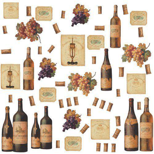 Wine Tasting Peel Stick Wall Decals Bottles Grapes Labels Cork Bar Kitchen Decor Stickers Walmart Com