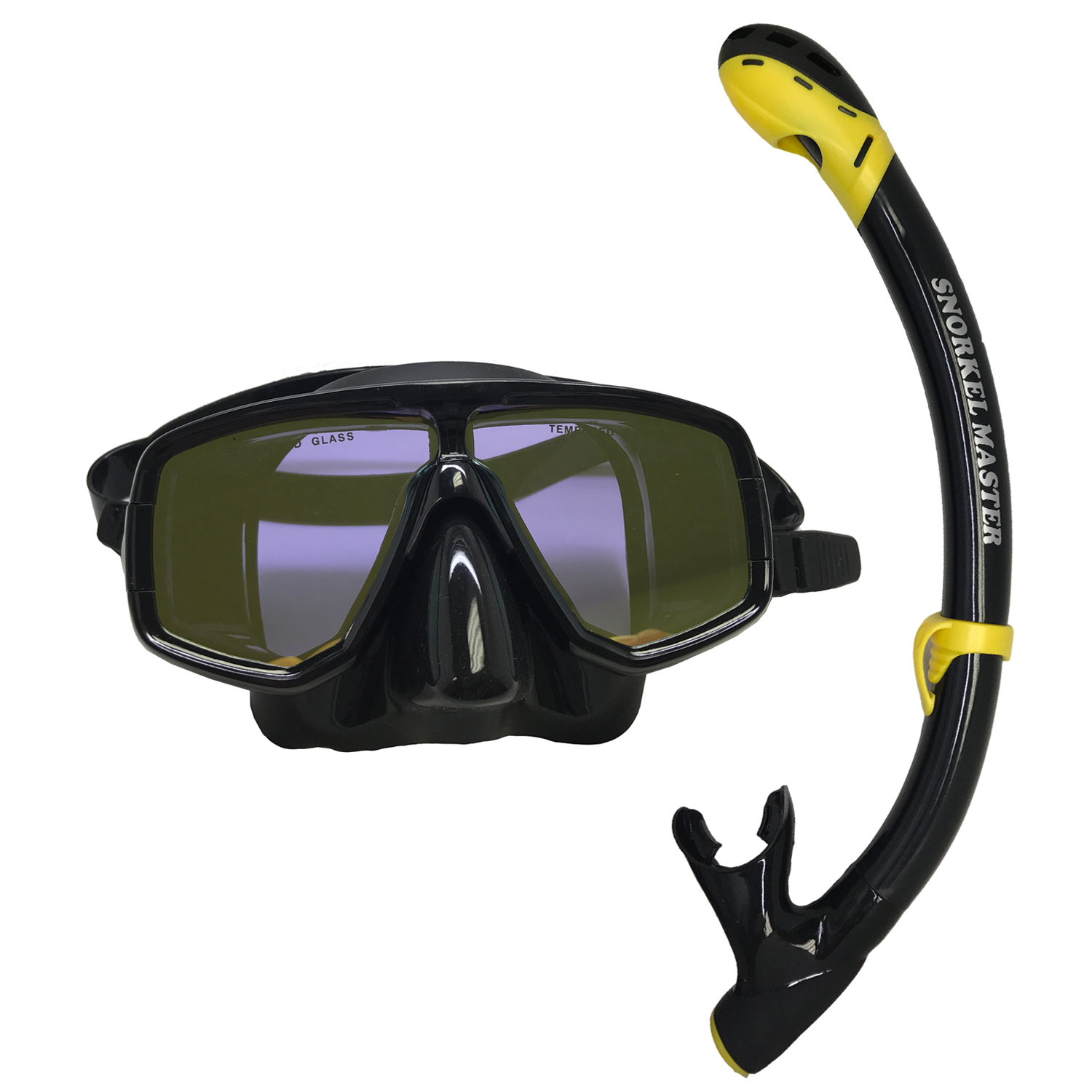 Scuba Choice Mask With Yellpw Mirror Coated Lense + Black Yellow Snorkel Combo by Scuba Choice