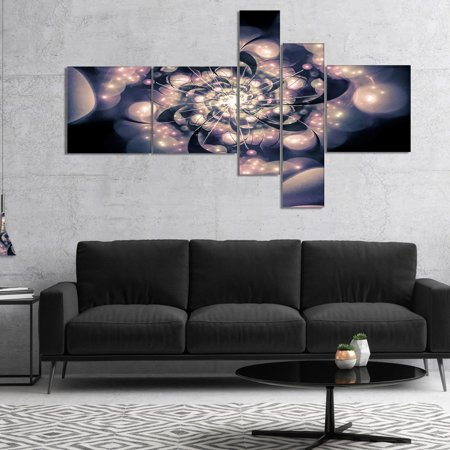 DESIGN ART Designart 'Light Blue Fractal Flower Pattern' Floral Art Canvas Print 60 in. wide x 32 in. high - 4