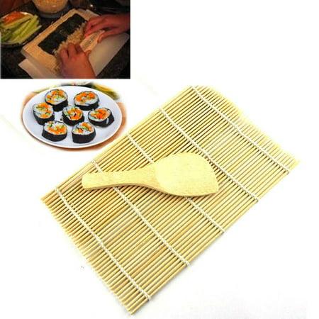 Jesuscrandsall Sushi Rolling Maker Bamboo Material Roller DIY Mat and A Rice Paddle