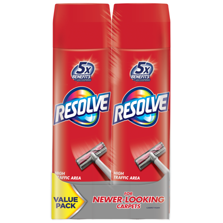 Revivex High Tech Cleaner (Resolve Dual Pack High Traffic Carpet Foam, 44oz (2 Cans x 22oz), Cleans Freshens Softens & Removes Stains )