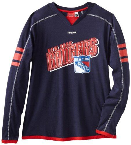 Reebok NHL Mens New York Rangers Long Sleeve Jersey Shirt Top, Navy