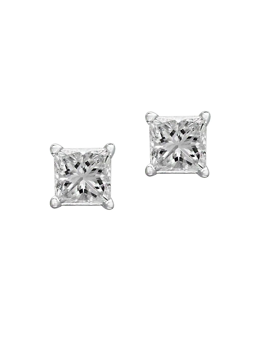 14K White Gold and Square Diamond Stud Earrings