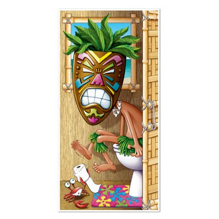 Tiki Bar Party Supplies (The Beistle Company Tiki Man Restroom Door Cover Wall D)