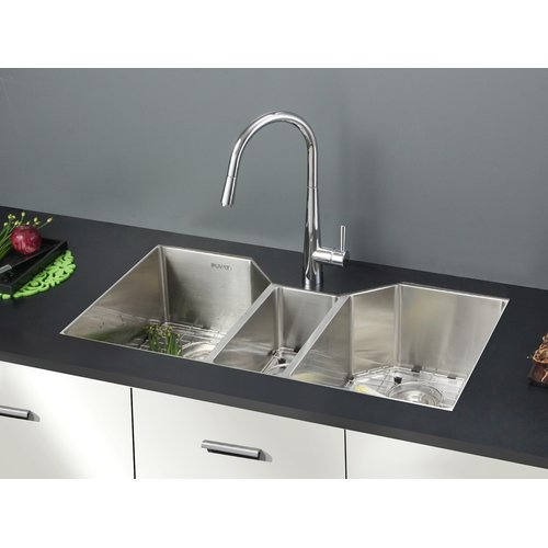 Ruvati Gravena 35u0027u0027 X 20u0027u0027 Triple Bowl Undermount Kitchen Sink
