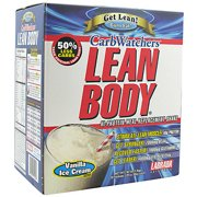 CarbWatchers Lean Body Vanilla Ice Cream Hi-Protein Meal Replacement Shake Powder, 20 count, 2.87 lb