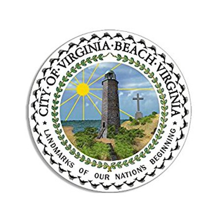 Virginia Beach City Seal Sticker Decal (decal logo car Sticker Decal ic window) Size: 4 x 4 - Party City Virginia Beach
