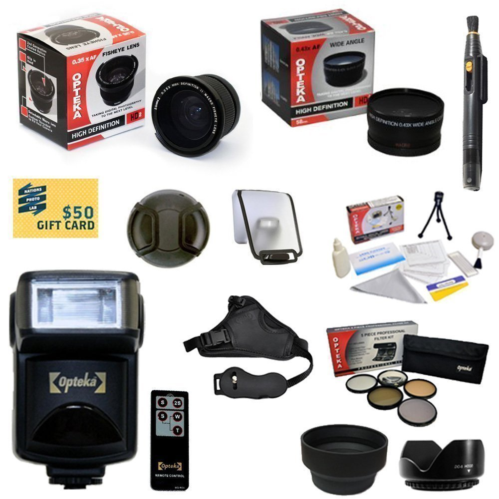 Advanced Lens Kit for SONY Alpha A33 A35 A55 A65 A580 A99 A37 A77 A37 A5000 NEX-7 NEX-3Nwith0.35 + 2.2x Lens+ Pro 5 Piece Filter + Flash + Wireless Remote + Sensor Cleaning Kit + $50 Gift Card & More
